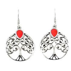 Red sponge coral enamel 925 silver tree of life earrings jewelry c11575