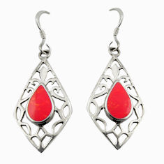 3.02gms red sponge coral enamel 925 sterling silver earrings jewelry c26366