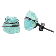 8.29cts rhodium natural aqua aquamarine raw 925 silver stud earrings r79679