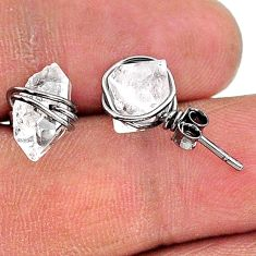 5.97cts rhodium natural white herkimer diamond 925 silver stud earrings t15361