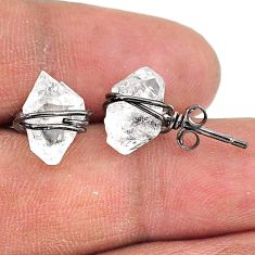 7.36cts rhodium natural white herkimer diamond 925 silver stud earrings t15367