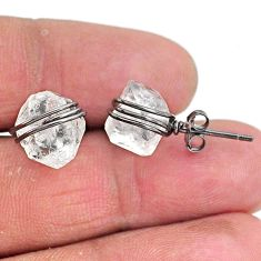 9.45cts rhodium natural white herkimer diamond 925 silver stud earrings t6556