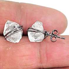 7.80cts rhodium natural white herkimer diamond 925 silver stud earrings t6559