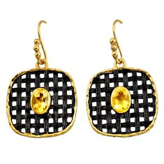 3.30cts rhodium natural yellow citrine silver 14k gold dangle earrings d45712