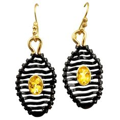 Clearance Sale- 3.30cts rhodium natural yellow citrine silver 14k gold dangle earrings d45718