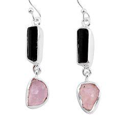 12.60cts rose quartz black tourmaline raw 925 silver dangle earrings r93738
