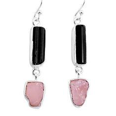 13.82cts rose quartz black tourmaline raw 925 silver dangle earrings r93740