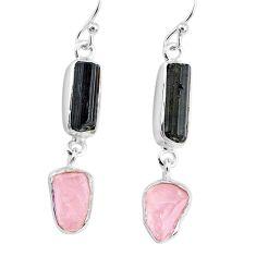 10.71cts rose quartz raw black tourmaline silver dangle handmade earrings r74263