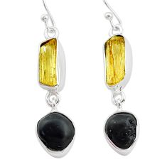 10.69cts scapolite tourmaline raw 925 sterling silver dangle earrings t21130
