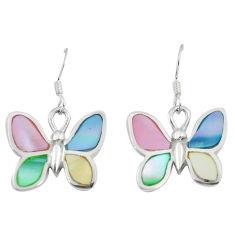 Silver 6.26gms multi color blister pearl enamel butterfly earrings a88444 c14234