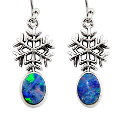 3.32cts snowflake natural blue doublet opal australian silver earrings r48161