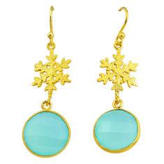 12.22cts snowflake natural chalcedony 14k gold handmade dangle earrings t11627