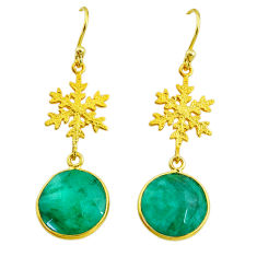 11.73cts snowflake natural emerald 14k gold handmade dangle earrings t11639