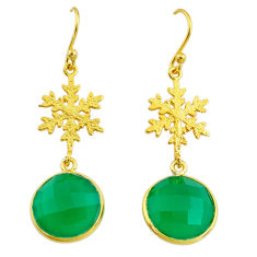 12.65cts snowflake natural green chalcedony 925 silver 14k gold earrings t11637