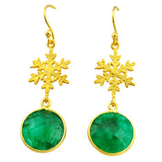 10.67cts snowflake natural green emerald 925 silver 14k gold earrings t11638
