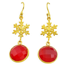 12.18cts snowflake natural honey onyx 14k gold handmade dangle earrings t11622