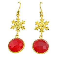 12.58cts snowflake natural honey onyx 14k gold handmade dangle earrings t11625
