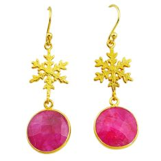 12.07cts snowflake natural red ruby 14k gold handmade dangle earrings t11630