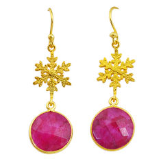 12.22cts snowflake natural red ruby 14k gold handmade dangle earrings t11631