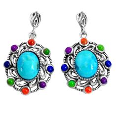 7.89cts southwestern blue arizona mohave turquoise 925 silver earrings c25972