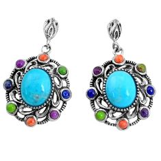 7.89cts southwestern blue arizona mohave turquoise 925 silver earrings c25975
