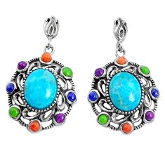 7.53cts southwestern blue arizona mohave turquoise 925 silver earrings c25976
