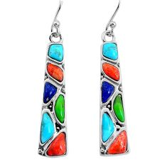 8.45cts southwestern blue arizona mohave turquoise 925 silver earrings c25978