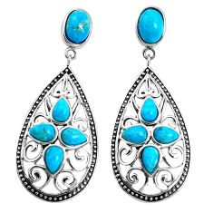 7.51cts southwestern blue arizona mohave turquoise 925 silver earrings c26103