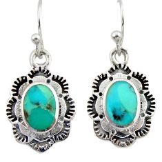 6.31cts southwestern blue copper turquoise 925 silver dangle earrings c26214