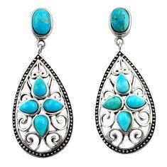 7.22cts southwestern blue copper turquoise 925 silver dangle earrings c26215