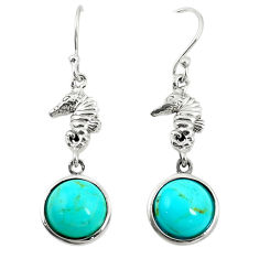 Southwestern fine blue turquoise 925 silver dangle earrings jewelry c10561
