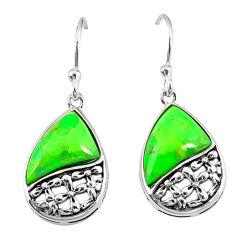 Southwestern green copper turquoise 925 silver dangle earrings jewelry c10562