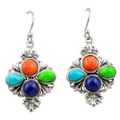 10.02cts southwestern multi color copper turquoise 925 silver earrings c26203