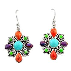 10.13cts southwestern multi color copper turquoise 925 silver earrings c26205