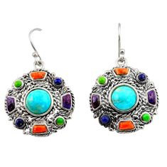 10.71cts southwestern multi color copper turquoise 925 silver earrings c26207