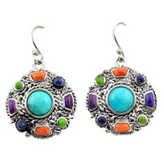 10.44cts southwestern multi color copper turquoise 925 silver earrings c26208