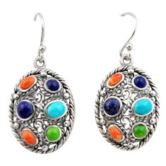 8.03cts southwestern multi color copper turquoise 925 silver earrings c26209