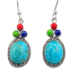 7.62cts southwestern multi color copper turquoise 925 silver earrings c26213