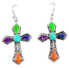 Southwestern multi color copper turquoise 925 silver holy cross earrings c22393