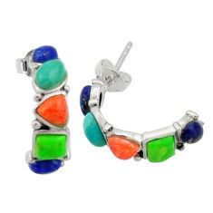 6.29cts southwestern multi color copper turquoise silver stud earrings c26216