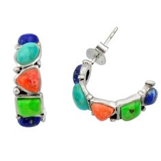 5.92cts southwestern multi color copper turquoise silver stud earrings c26217