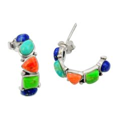 6.31cts southwestern multi color copper turquoise silver stud earrings c26218