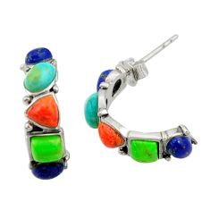 5.92cts southwestern multi color copper turquoise silver stud earrings c26219