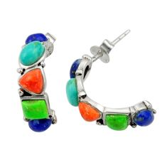 5.79cts southwestern multi color copper turquoise silver stud earrings c26220