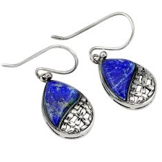 Southwestern natural blue lapis 925 sterling silver dangle earrings c23037