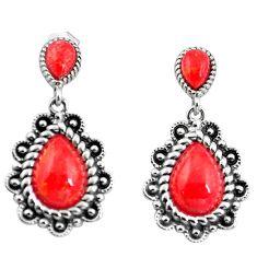 Southwestern red copper turquoise 925 silver dangle earrings jewelry c10572