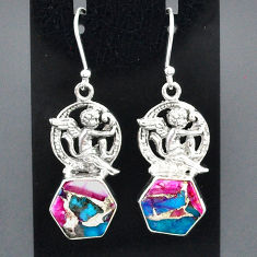 10.86cts spiny oyster arizona turquoise 925 silver angel earrings jewelry r95165