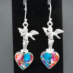 11.29cts spiny oyster arizona turquoise 925 silver angel earrings jewelry r95189