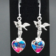 10.34cts spiny oyster arizona turquoise 925 silver angel earrings jewelry r95194