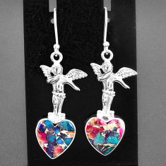 10.81cts spiny oyster arizona turquoise 925 silver angel earrings jewelry r95200